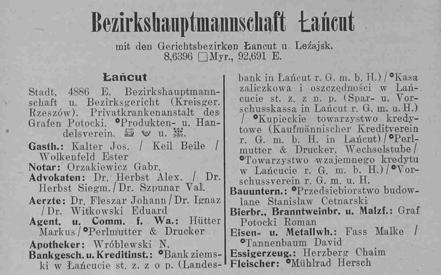 Example: 1907-1913 Galicia and Bukovina Business Directory