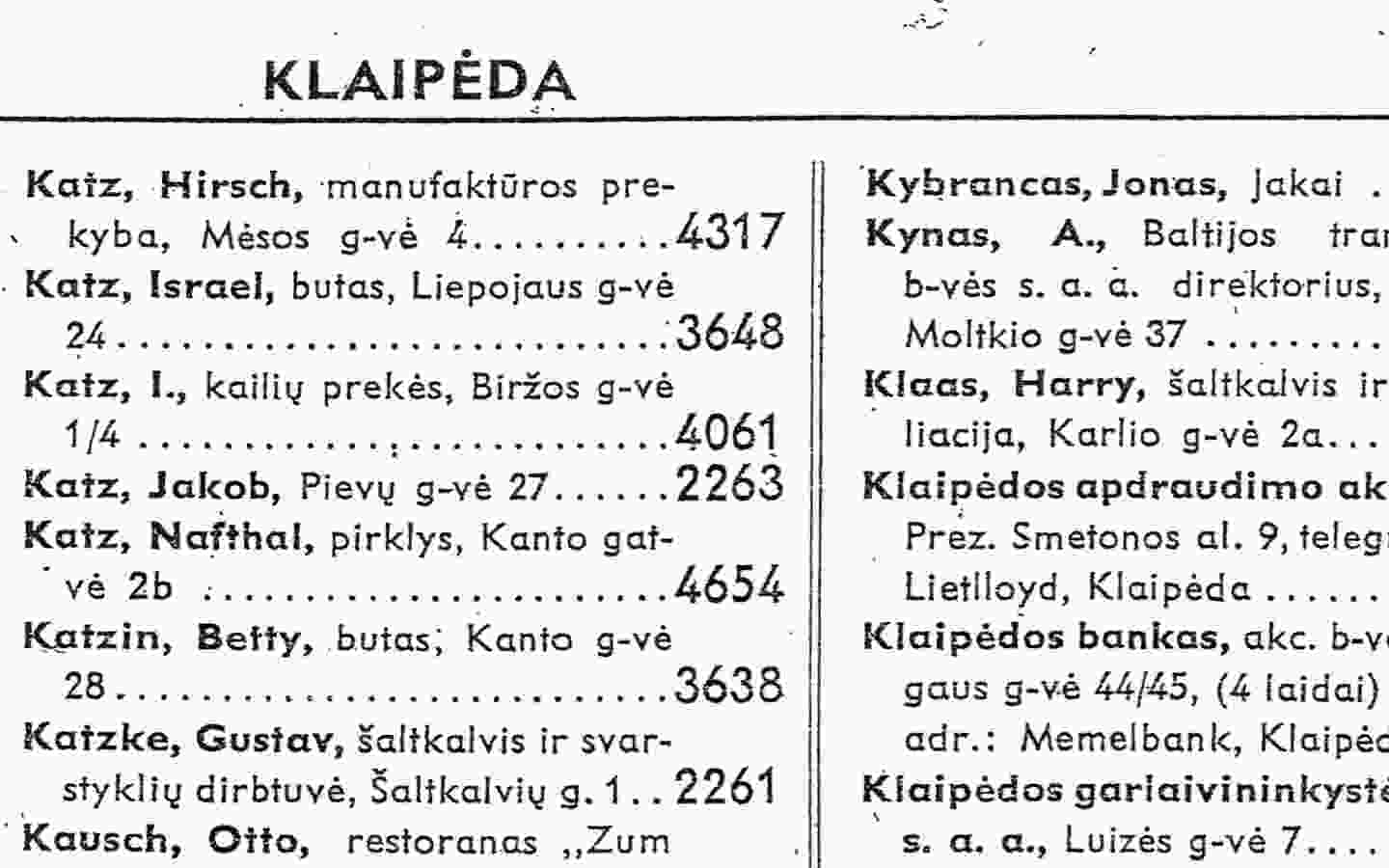 Example: 1939 Lithuania Telephone Directory